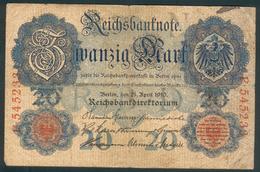 Deutsches Kaiserreich, 20 Mark 1910 Rosenberg 40a, Z.III- - [ 2] 1871-1918 : Empire Allemand