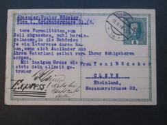 Österreich 1918 Ganzsache Express! Seltene Verwendung! Nicht Bei Nacht Zustellen! Wien - Cleve. - Cartas