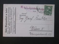 Österreich 1916 Postkarte K.u.K Militärzensur Oderberg. Sam. Blumenthal & Sohn. Freistadt / Frystadt. Schwarzblech Usw. - 1850-1918 Imperium