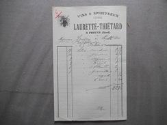PROUVY NORD LAURETTE-THIETARD VINS & SPIRITUEUX CIDRE FACTURE DU 25 OCTOBRE 1910 ABSINTHE - France