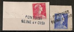 2 GRIFFES PONTOISE  Seine Et Oise Sur 2 MULLER. - Marcofilia (Sellos Separados)