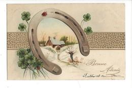 16081 - Bonne Année Fer à Cheval Coccinelles Trèfles à Quatre Envoyée En 1903 Carte En Relief - Nouvel An