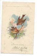 16083 - Bonne Année Oiseaux Deux Rouge Gorges  Envoyée En 1905 Carte En Relief - Nouvel An