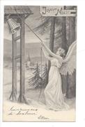 16087 - Joyeux Noël Ange Tirant Sur Cloche Village Et Sapins Carte Envoyée En 1903 - Noël