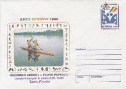 53739- CANOE DOUBLE MEN TEAM, COVER STATIONERY, 1999, ROMANIA