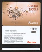 GIFT CARD - Carte Cadeau Auchan - JOYEUX NOEL - 145 € - Cartes Cadeaux