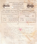 Document Du ?? GOSSELIN Fabrique De Cartouches, Tarif - Charenton 94 - France