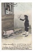 16093 - Bonne Année Jeune Homme Apportant Message à Fillette Luge Cochon Envoyée En 1904 - Nouvel An