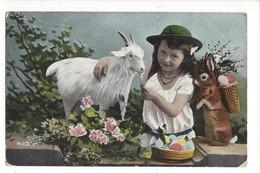 16094 - Fillette Donnant à Manger à Une Chèvre Et Lapin Avec Corbeille D'oeufs - Pâques