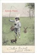 16096  Joyeuses Pâques Fillette Chassant Des Lapins - Pâques