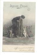 16097  Joyeuses Pâques Jeunne Homme Jouant Avec Un Lapin - Pâques