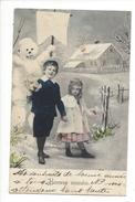 16099 -   Bonne Année Couple De Fillettes Devant Bonhomme De Neige (Attention Trous De Punaise) - Nouvel An