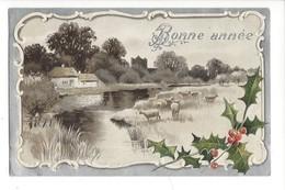 16100 -   Bonne Année Paysage Moutons Et Houx Envoyée De Cortaillod En 1907 - Nouvel An