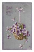 16101 -   Bonne Année  Corbeille De Violettes Carte En Relief - Nouvel An