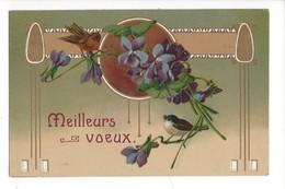 16102 -   Meilleurs Voeux Oiseaux Sur Branche De Violettes + Cachet Les Grnges Près De Château D'Oex - Nouvel An