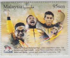 Malaysia Paralympics Golden Moments Brasil Brazil RIO 2016 Sport Games Gold Set Mnh - Malaysia (1964-...)