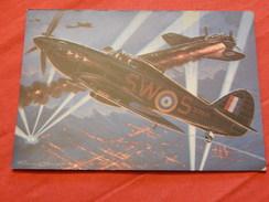 """MILITARIA - AVIONS DE CHASSE  -  """"  Hawker Hurricane (Grande Bretagne) """" - (dessin De F. Bergèse) - War 1939-45"""