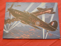 "MILITARIA - AVIONS DE CHASSE  -  ""  Hawker Hurricane (Grande Bretagne) "" - (dessin De F. Bergèse) - Guerre 1939-45"