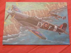 "MILITARIA - AVIONS DE CHASSE  -  ""  Supermarine Spitfire (Grande Bretagne)  "" - (dessin De F. Bergèse) - War 1939-45"