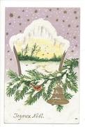 16110 -   Joyeux Noël Cloche Branche De Sapin Et Oiseau - Noël