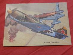 """MILITARIA - AVIONS DE CHASSE  -  """"  Lavochkin La - 7  (U.R.S.S.) """" - (dessin De F. Bergèse) - Guerre 1939-45"""