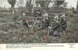 Guerre 1914-18- Ref L93- Regiments -dragons - Mitrailleuses - Mitrailleurs -mitrailleuse -imp Lapina  -carte Bon Etat  - - Régiments