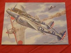 "MILITARIA  -  AVIONS DE CHASSE -  "" Lockheed P-38 Lightning ""  (USA)  - (Dessin F. Bergèse ) - Guerre 1939-45"