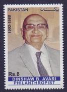 PAKISTAN 2016 - DINSHAW BYRAMJI AVARI, Philanthropist, Famous Person, MNH - Pakistán