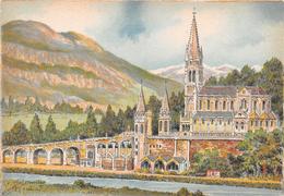 Illustrateur BARDAY - LOURDES - La Basilique Et Le Gave - N° 2310 B - M. Barré & J. Dayez - Barday