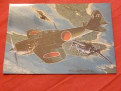 "MILITARIA  -  AVIONS DE CHASSE -  "" Mitsubishi  Zéro  ""  (Japon)    - (Dessin F. Bergèse ) - Guerre 1939-45"