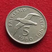 Falkland  Islands 5 Pence 1980 KM# 4.1 Albatross Malvinas Malwinen - Falkland Islands