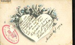 POSTAL CIRCULADA CORAZON RODEADA DE FLORES SELLO TEATRO APOLO 1904 ZTU. - Postkaarten