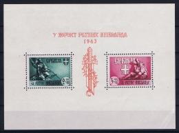 Deutsche Reich Serbien Serbia Mi Block Nr 4  MNH/**/postfrisch 1943 Small Spot In Gum Right Bottom Fold - Occupation 1938-45