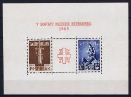 Deutsche Reich Serbien Serbia Mi Block Nr 3 MNH/**/postfrisch 1943 Small Spot In Gum - Occupation 1938-45