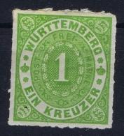 Würtemberg 1869 Mi Nr 36 B Dunkelgelblichgrün  MH/* Falz/ Charniere - Wuerttemberg