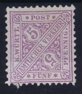 Würtemberg Dienstmarken 1881 Mi Nr 202 B Hell Violettblau Not Used (*) SG - Wuerttemberg
