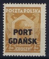 Danzig  Port Gdansk Mi Nr 19 A  Braunocker MNH/**/postfrisch/neuf Sans Charniere 1928 - Danzig
