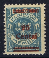 Memel Mi Nr  221 MNH/**/postfrisch/neuf Sans Charniere 1923 - Klaipeda