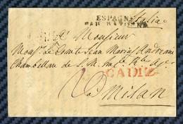 Lettre De CADIX (Espagne) Pour MILAN (Lombardie-Vénétie) Par BAYONNE -1814 - Marcophilie (Lettres)