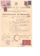 Caserta. 1949. Marche Municipali Su Certificato Di Nascita - Italie