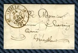 Lettre De VIZILLE Pour GRENOBLE (Isère) -1834 - Marcofilie (Brieven)