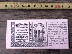 MARQUE DEPOSEE 1888 CIGARETTES DE L ARMEE FRANCAISE AUX CIGARES RAYES MOISE AMAR FABRICANT A ALGER - Vieux Papiers