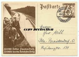Postkarte 1936, Erster Spatenstich Autobahn 1933, Bau Bis 1936, Ganzsache 6+4 Winterhilfswerk, Stempel Charlottenwerder - Ansichtskarten