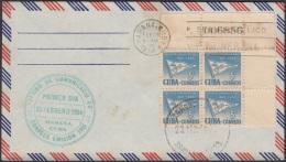 1954-FDC-66 CUBA REPUBLICA. 1954. FDC. 5c RETIRO DE COMUNICACIONES. GALLARDETE. FLAG BLOCK 4. - FDC