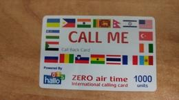 Israel-hallo015-call Me(1000units)-(zer Air Time International Calling Card-used Card - Israel