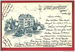 FIT-13ann  Gruss Aus Dem Pension Hug-Braun Bern. Litho Pionier. Gelaufen In 1902 - BE Berne