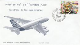 ENVELOPPE - PREMIER VOL DE L'AIRBUS A380 - AEROPORT DE TOULOUSE-BLAGNAC - 27 AVRIL 2005 - AVION - Artículos De Papelería