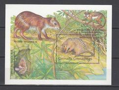 Grenada Grenadines 1990,1V In Block,mongoose,agouti,little Big Eared Bat,monkey,white Nosed Ichneumo.MNH/Postfris(L2909) - Rodents