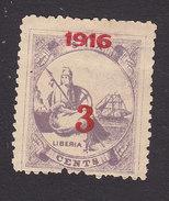 Liberia, Scott #157, Mint No Gum, Liberia Surcharged, Issued 1916 - Liberia
