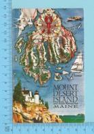 Maps, Cartes Géographiques - Maine USA -Map Of Mount Desert Island & Acadia National Park -  Post Card - Cartes Géographiques